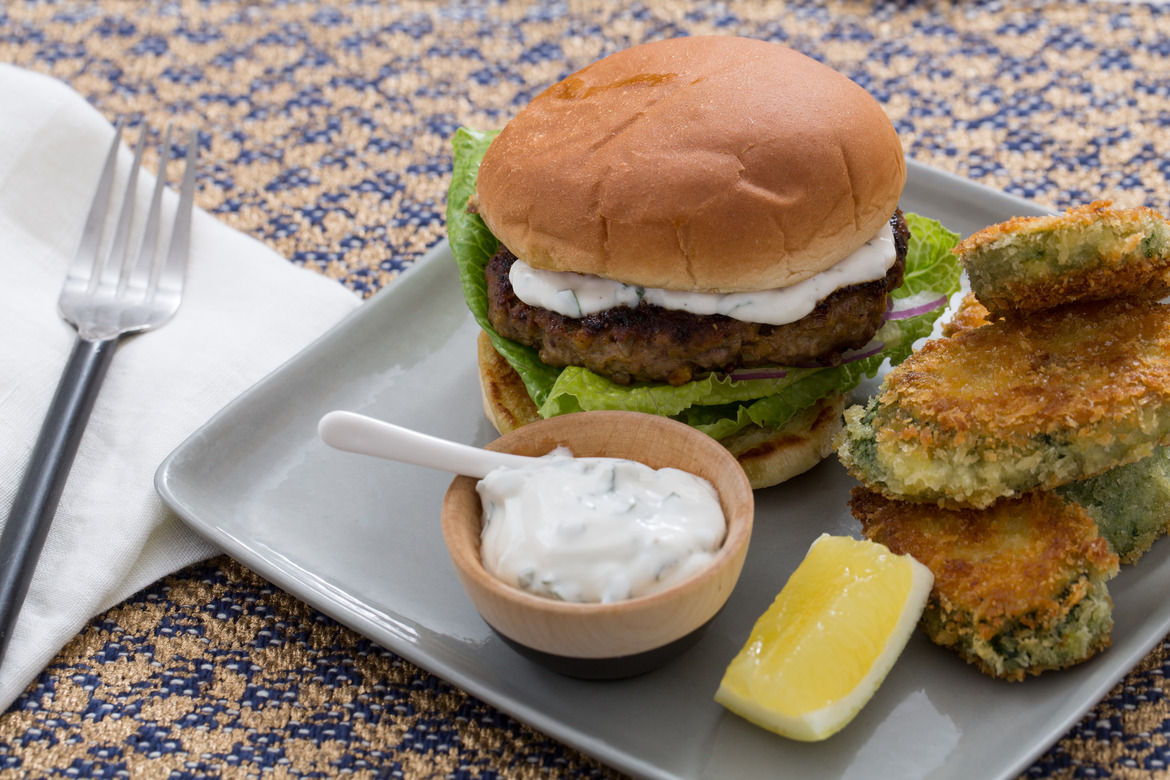 Vadouvan-Spiced Lamb Burgers with Crispy Curried Zucchini Rounds