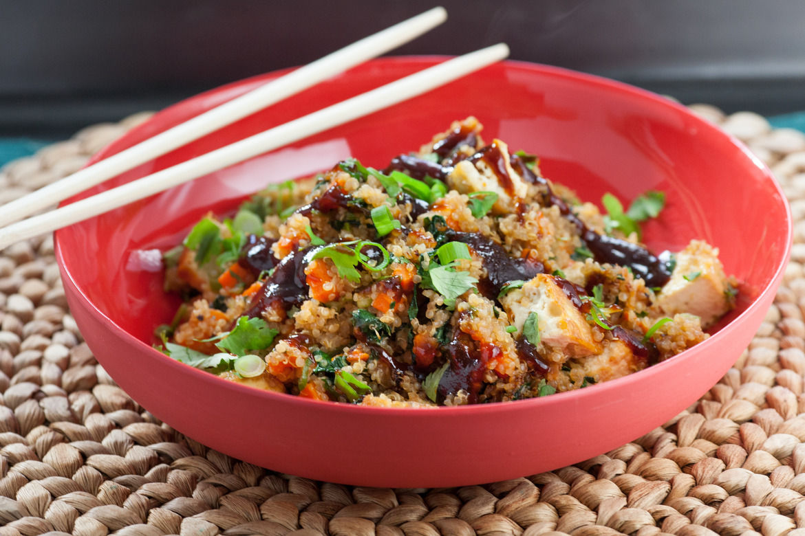 "Quinoa ""Fried Rice"" with Baked Tofu & Choy Sum (vegetarian)"