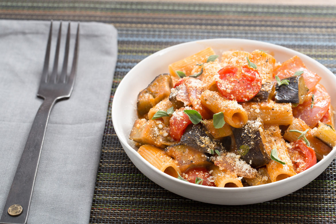 Rigatoni Puttanesca with Eggplant & Fresh Oregano (vegetarian)