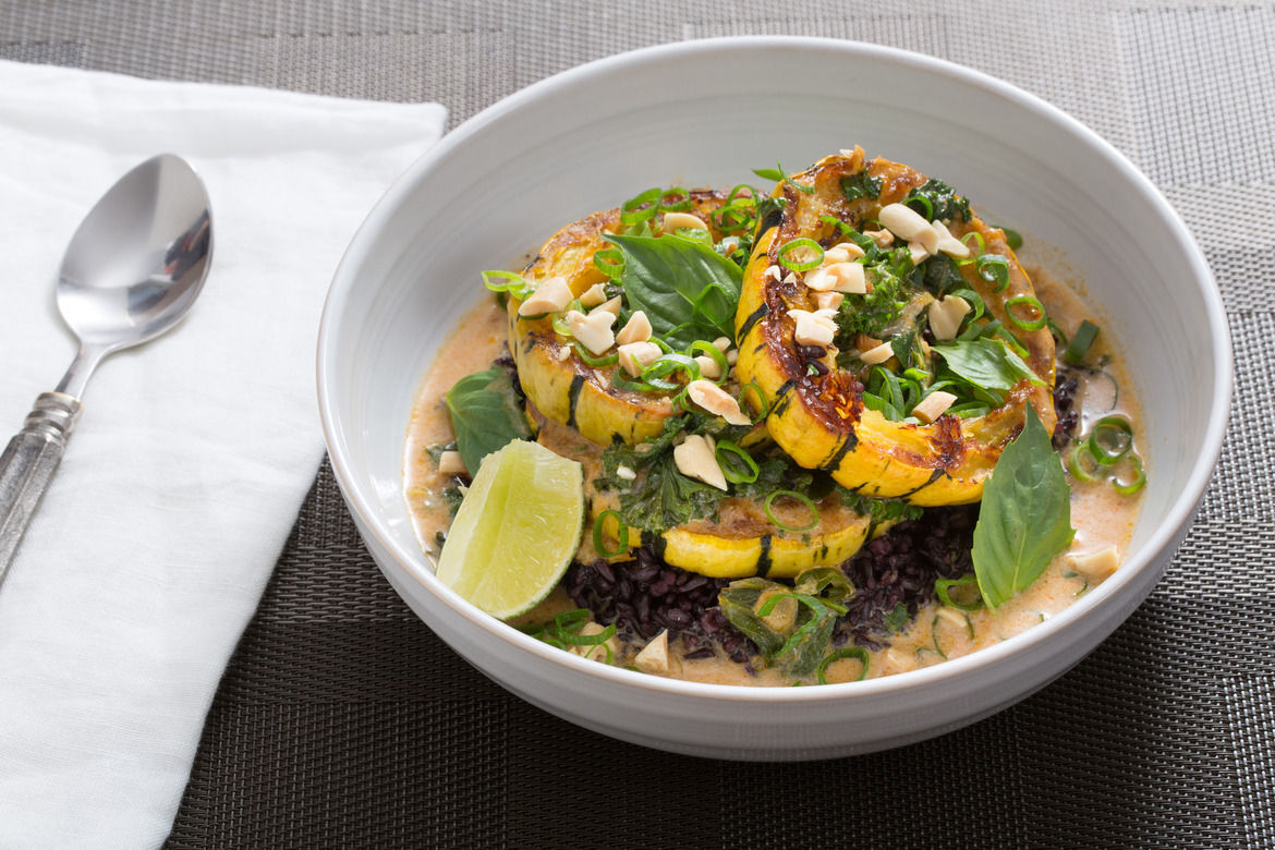 Delicata Squash Red Curry with Black Rice & Thai Basil (vegetarian)